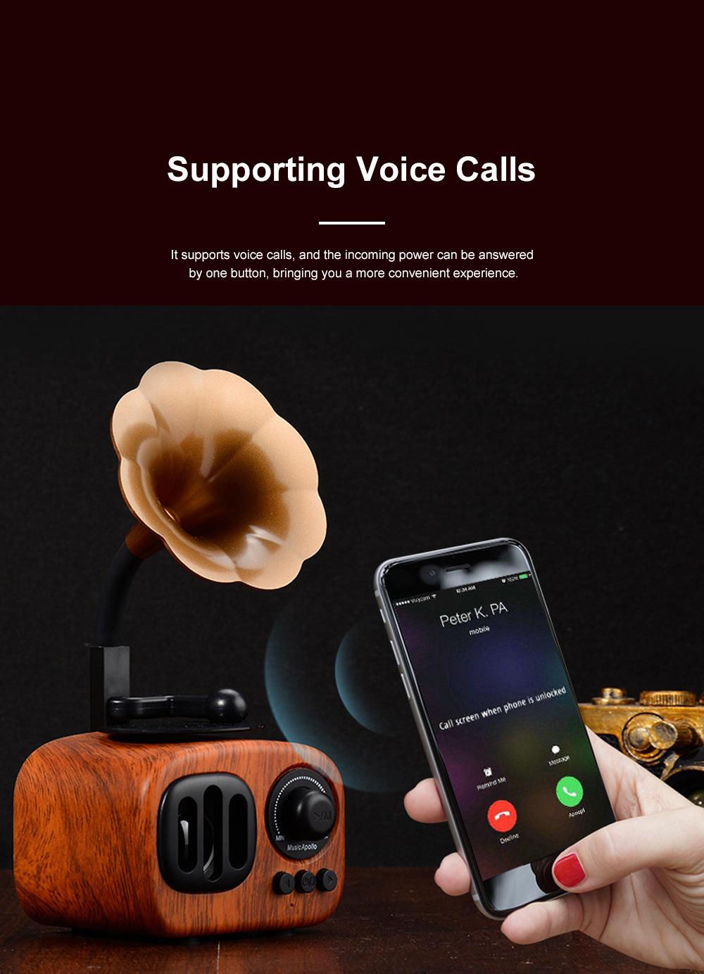 New AS9 Pluggable U-disk Small Retro Gramophone Mini-audio Indoor Portable Bluetooth Speaker Sound Box 2