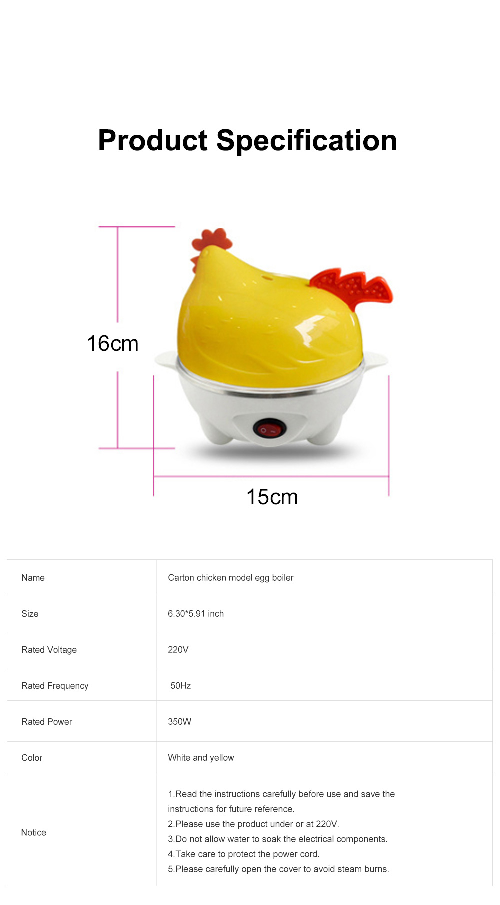 Cute Creative Carton Chicken Model Automatic Egg Boiler Multifunctional Egg Cooker Breakfast Assistant 6