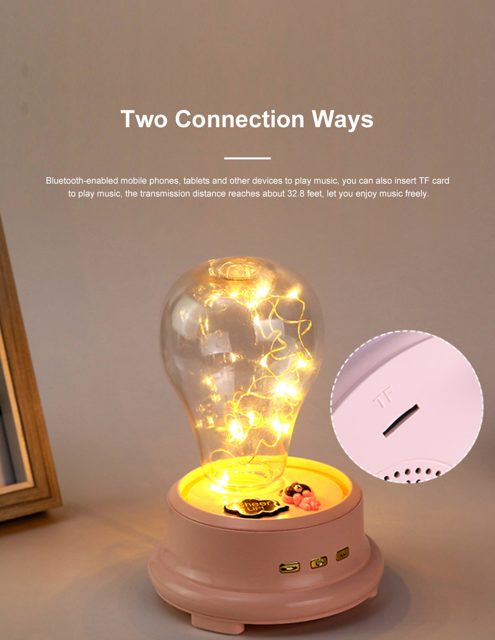 Dreamy Bluetooth Speaker LED Music Box Light Battery Powered 1200 MA Speaker for Table Decoration and Lighting 3
