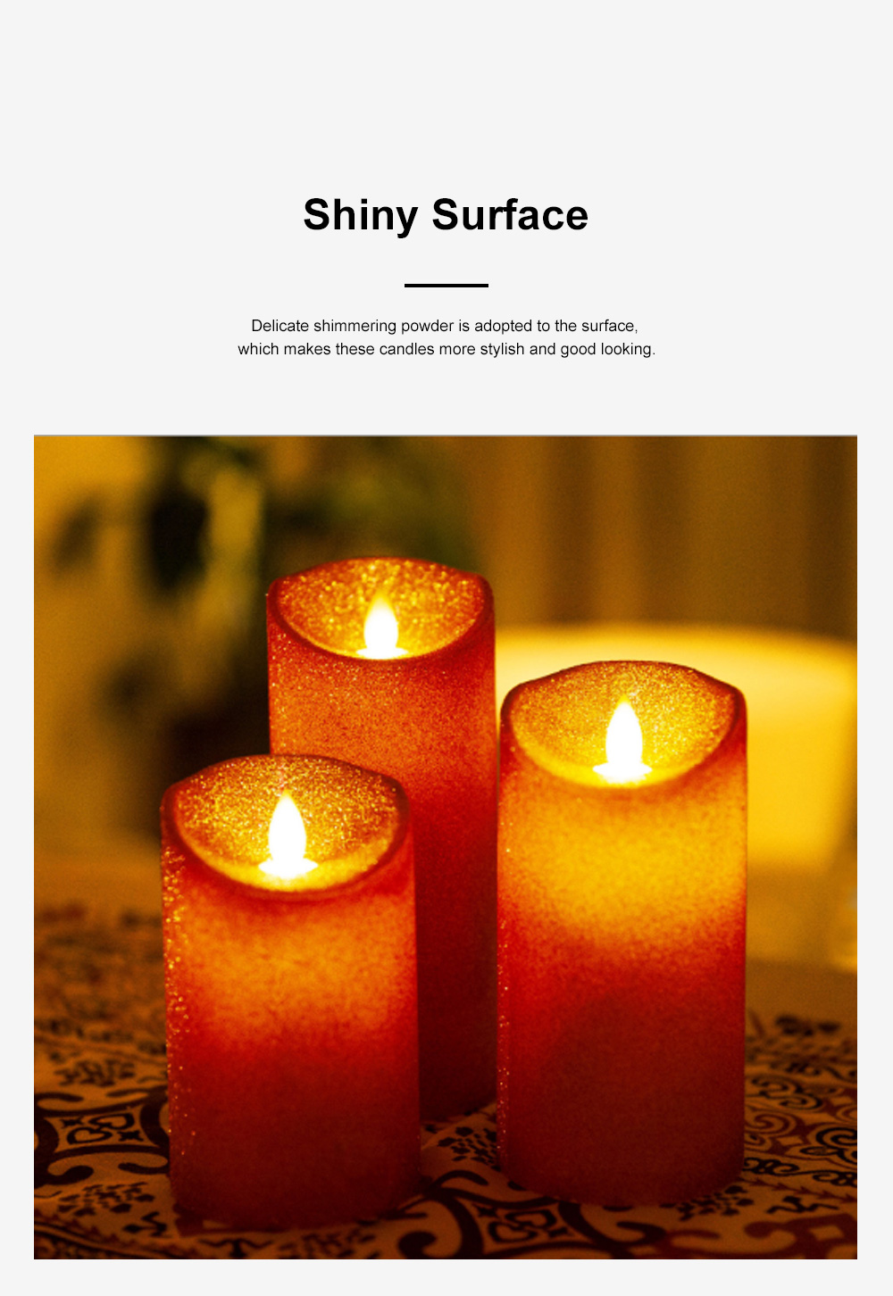 3PCS Led Candle Light Suit Rose Golden Simulation Flame Smokeless Electric Candle Lights with Remote Control Adjustable Automatic Timer 3