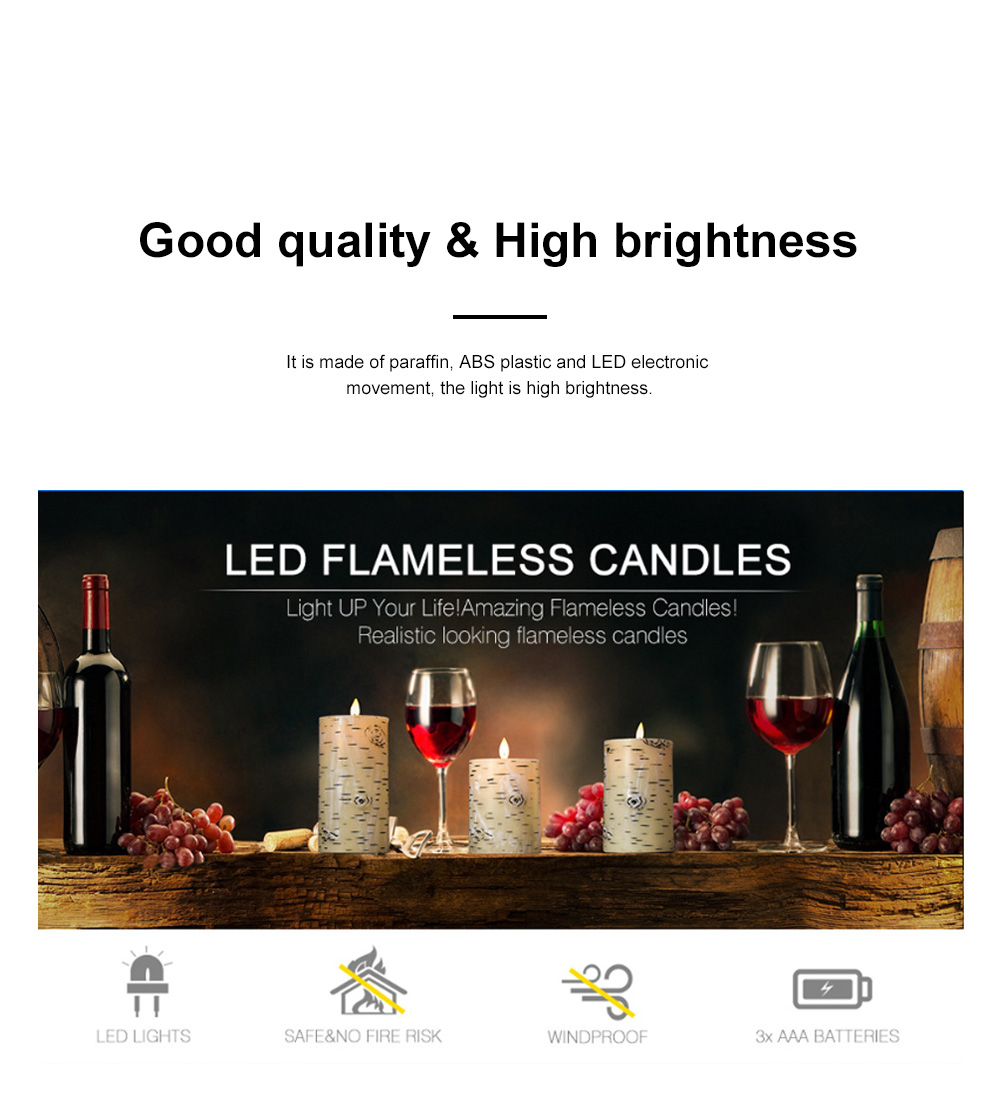 Three-piece Set Swing LED Flame Electronic Candle Remote Control Home Night Light Romantic Marriage Electronic Candle Light 1