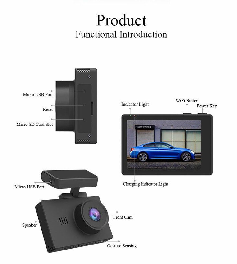3.0 Inch Touch Screen Driving Recorder Dual Lens Double 1080P GPS Wifi Super Cap Dash Cam Recorder Car DVR Video 1
