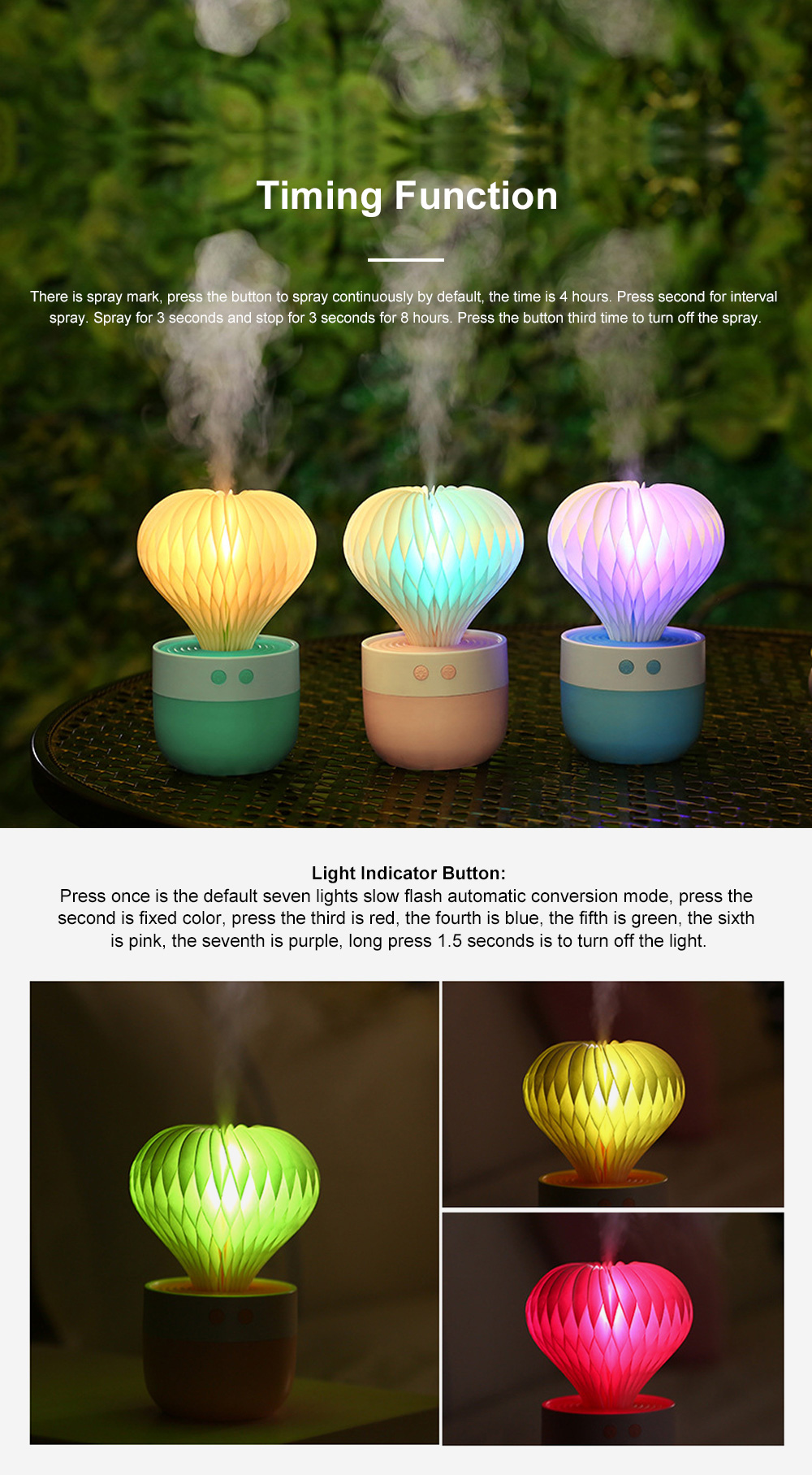 Portable Paper Cactus Humidifier USB Charging Air Diffuser 7 Colors LED Night Light for Home Office Car Travel 2