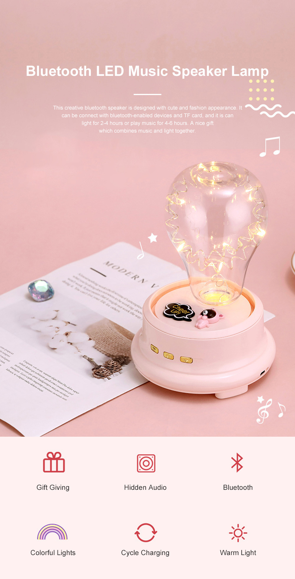Dreamy Bluetooth Speaker LED Music Box Light Battery Powered 1200 MA Speaker for Table Decoration and Lighting 0