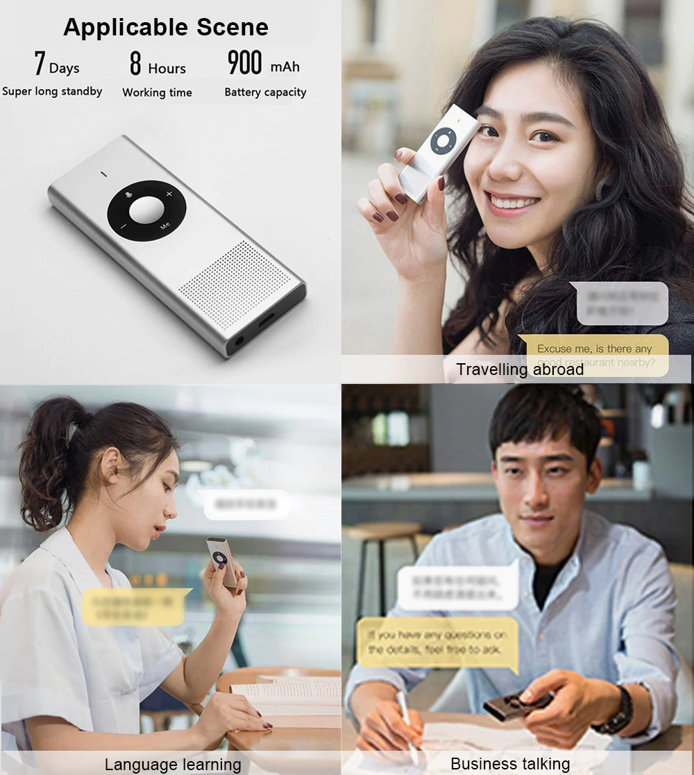 Portable AI Translator for Language Learning Business Talking Multilingual Metal-made Intelligent Translator Device Real-time Inter-translation Tool 6