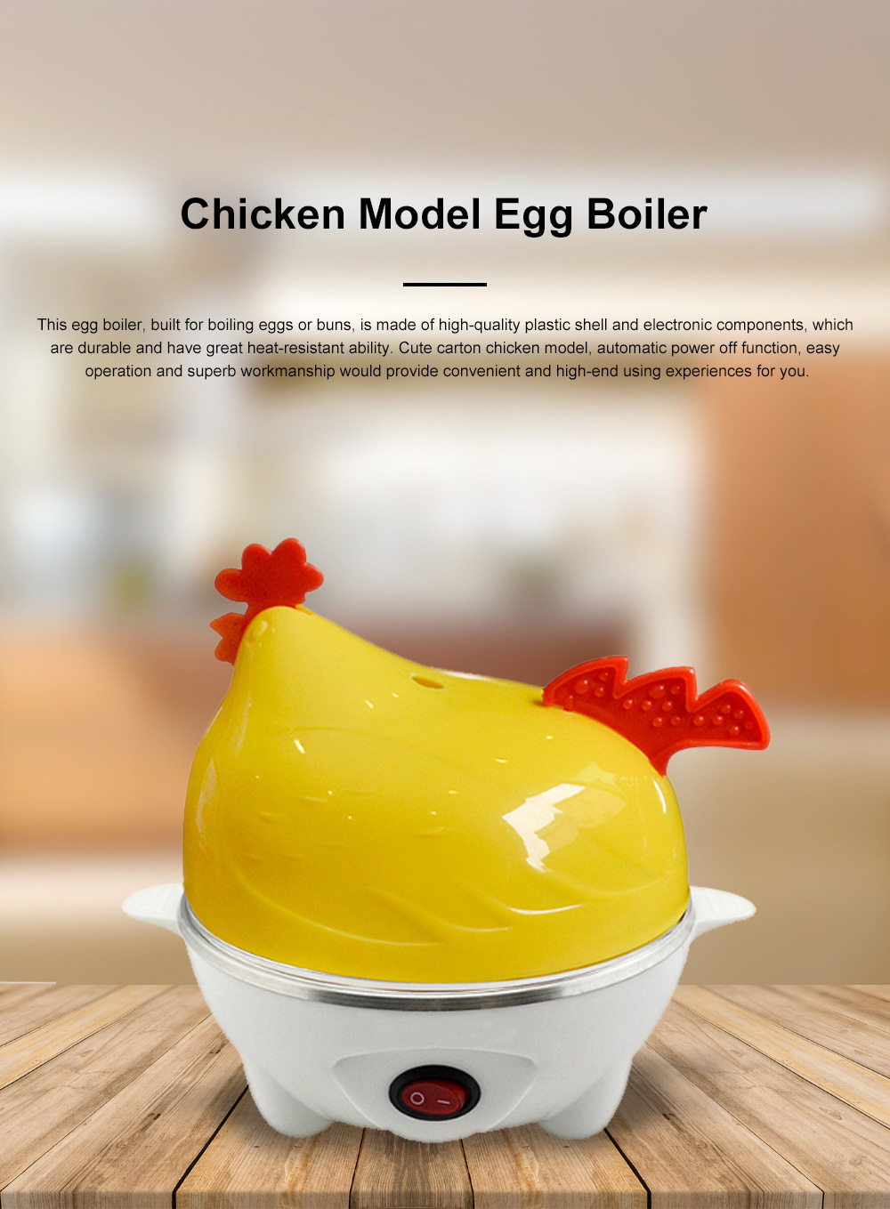Cute Creative Carton Chicken Model Automatic Egg Boiler Multifunctional Egg Cooker Breakfast Assistant 0