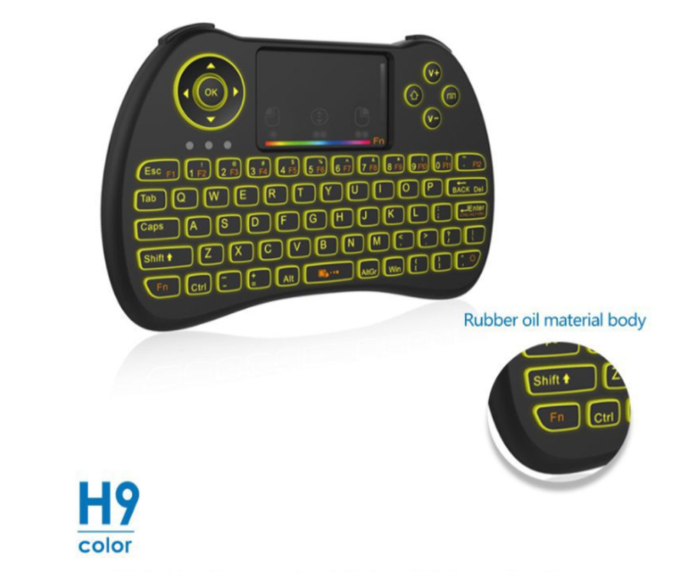 Colorful Backlit Keyboard with Touchpad for Desktop Computer Tablet X-BOX Wireless Mini Keyboard Touch Control Multimedia HTPC Keyboard 7