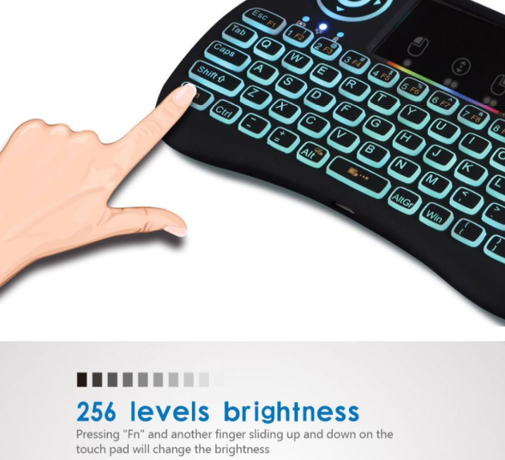 Colorful Backlit Keyboard with Touchpad for Desktop Computer Tablet X-BOX Wireless Mini Keyboard Touch Control Multimedia HTPC Keyboard 2