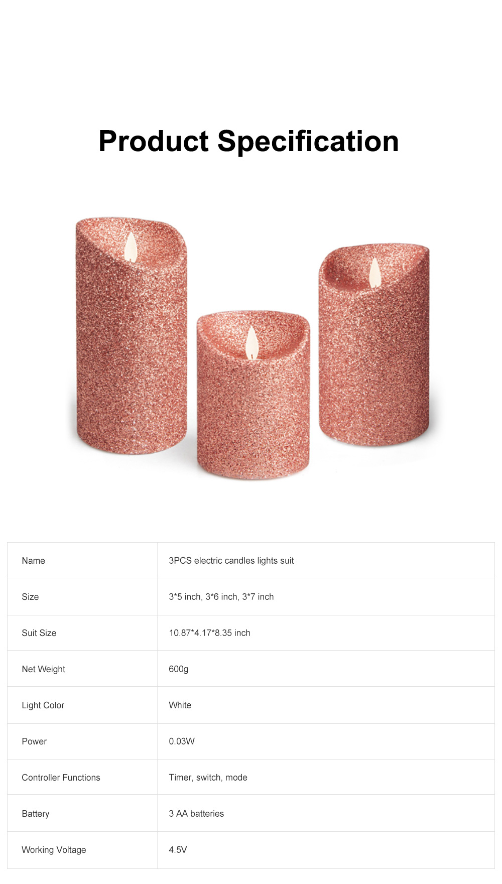 3PCS Led Candle Light Suit Rose Golden Simulation Flame Smokeless Electric Candle Lights with Remote Control Adjustable Automatic Timer 6