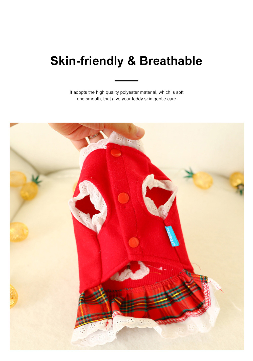 Gingerbread Pattern Red Pet Dress Christmas Decorations Puppy Dog Dress Teddy Bichon Clothing 1