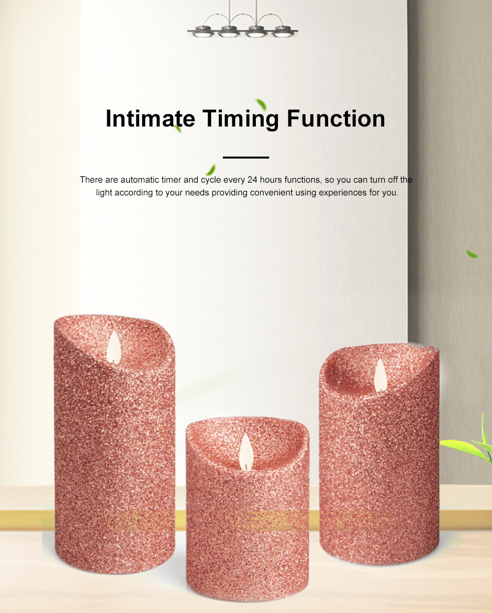 3PCS Led Candle Light Suit Rose Golden Simulation Flame Smokeless Electric Candle Lights with Remote Control Adjustable Automatic Timer 2