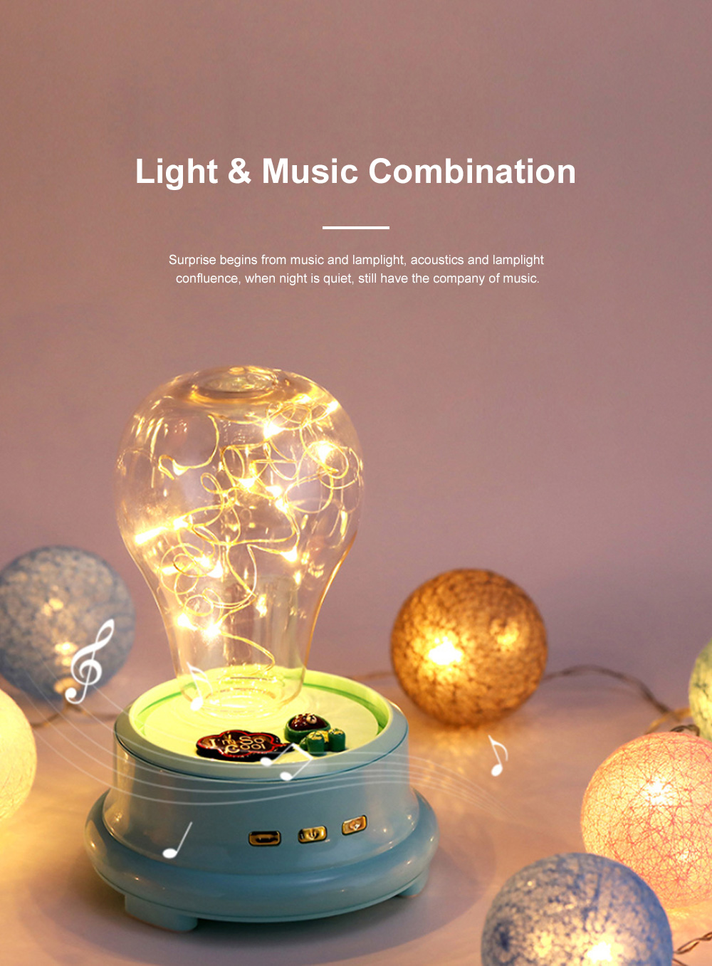 Dreamy Bluetooth Speaker LED Music Box Light Battery Powered 1200 MA Speaker for Table Decoration and Lighting 1
