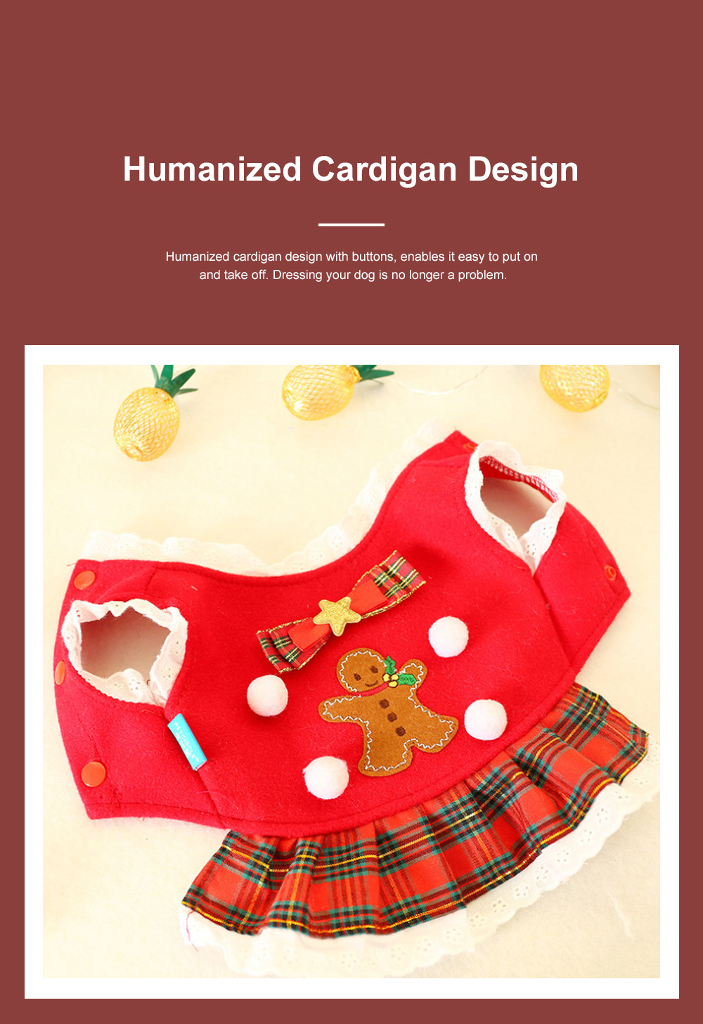 Gingerbread Pattern Red Pet Dress Christmas Decorations Puppy Dog Dress Teddy Bichon Clothing 4