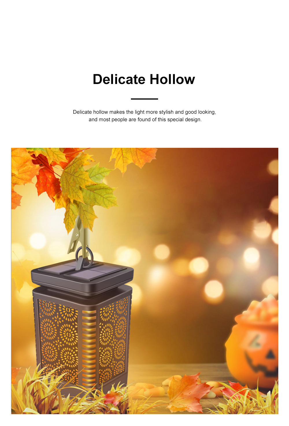 Delicate Hollow Solar Power Simulated Flame Light Outdoors Decoration Camping Waterproof Light with Clip 5