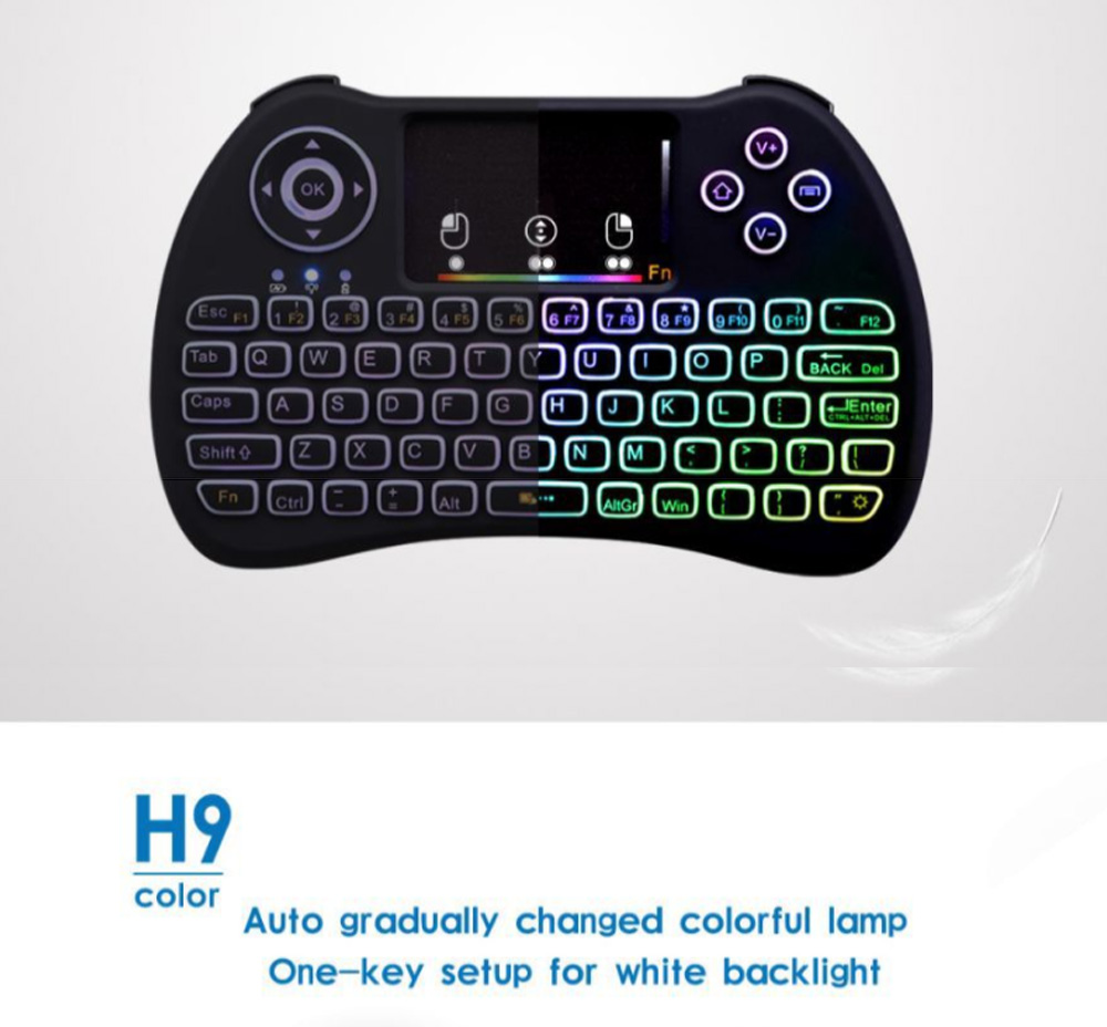 Colorful Backlit Keyboard with Touchpad for Desktop Computer Tablet X-BOX Wireless Mini Keyboard Touch Control Multimedia HTPC Keyboard 3