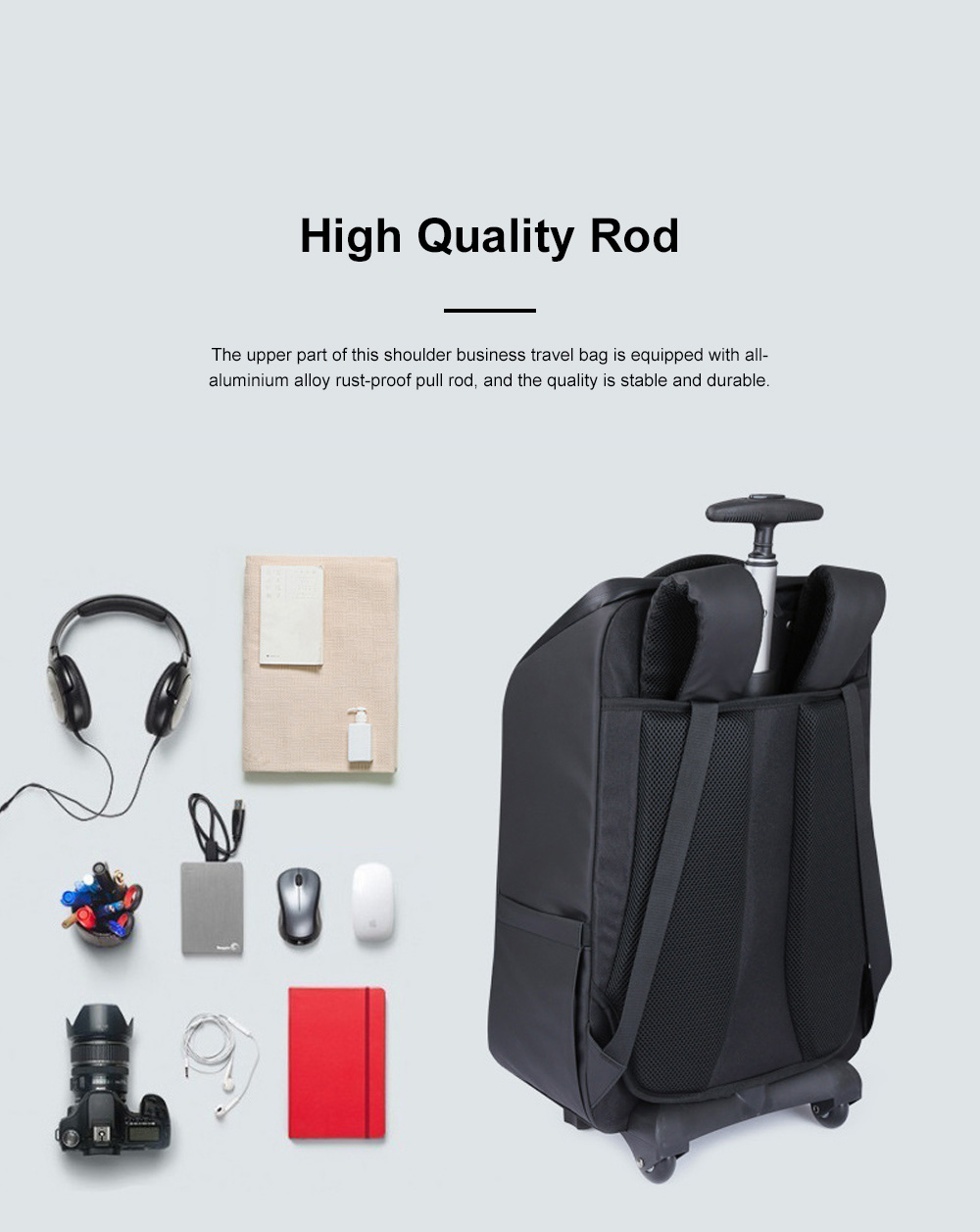 Business Style Tie-rod Backpack Boarding Shoulder Travel Bag Male and Female Large Capacity Schoolbag Computer Bag 7