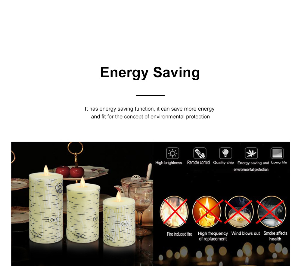 Three-piece Set Swing LED Flame Electronic Candle Remote Control Home Night Light Romantic Marriage Electronic Candle Light 3
