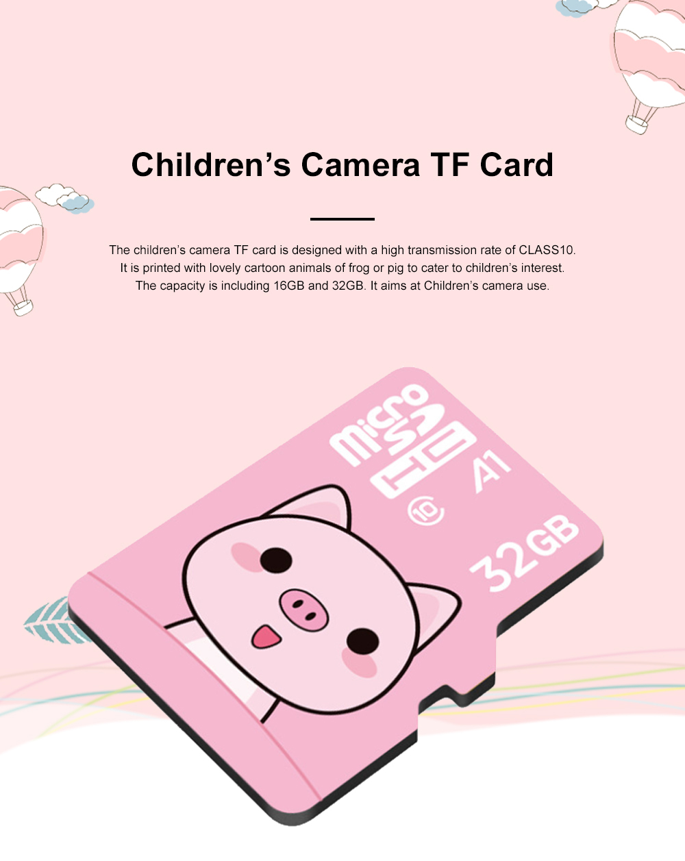 Lovely Micro SD Card for Children's Camera Use Hight Transmission Speed TF Card Large Capacity Memory Card Class 10 0
