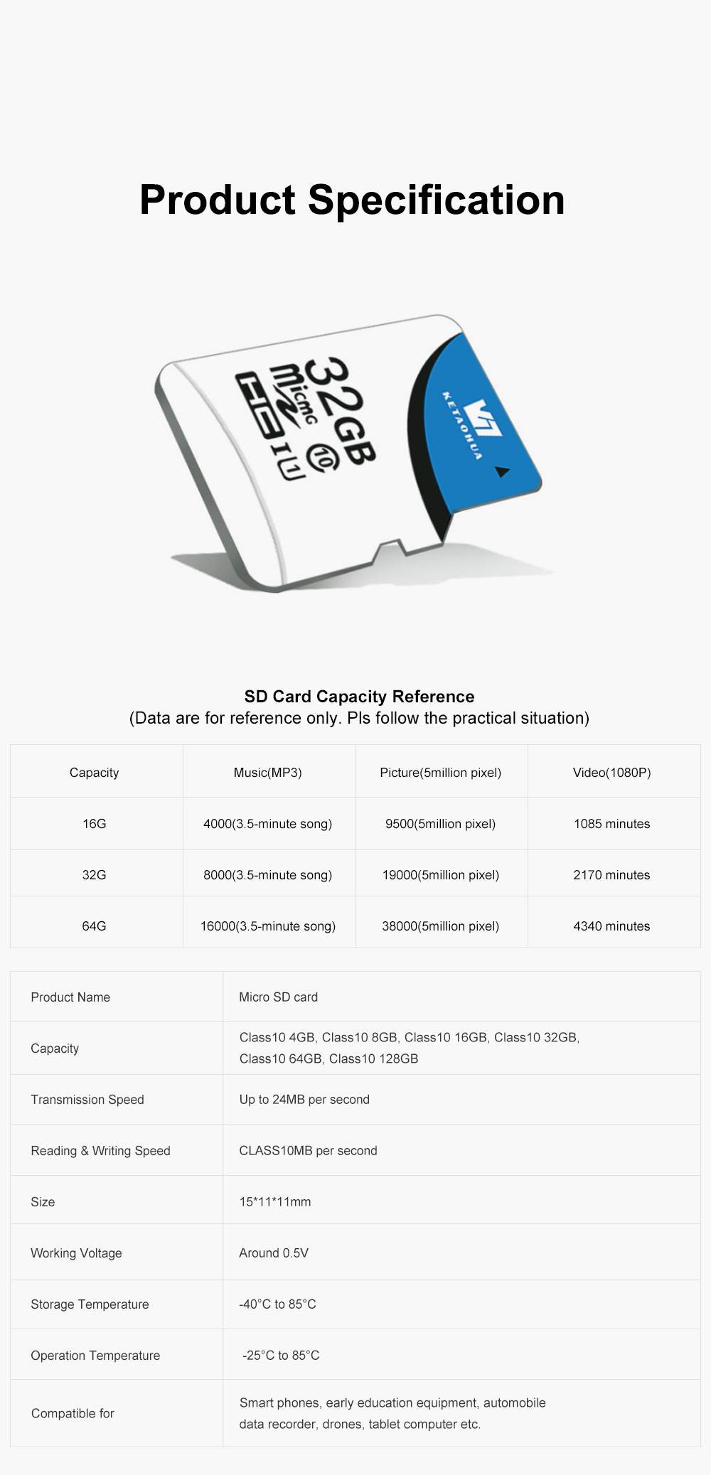 Micro SD Card for Automobile Data Recorder Surveillance Cameras Waterproof and Antimagnetic Hight-capacity TF Memory Card 6