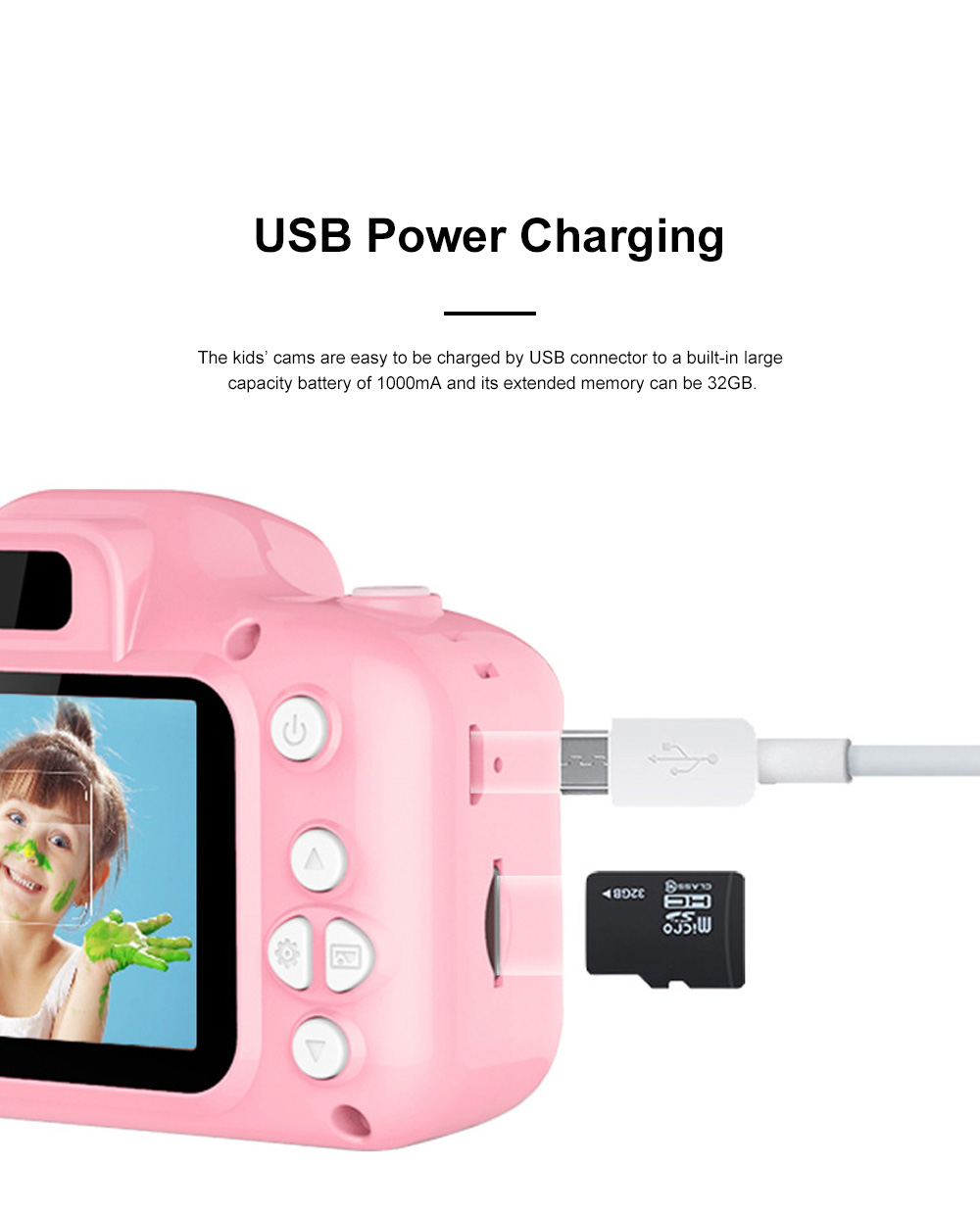 Mini Digital Camera for Children's Gift Environment-friendly ABS Funny Kids' Cams Durable Outdoor Video Camera Portable Cartoon Camera 6