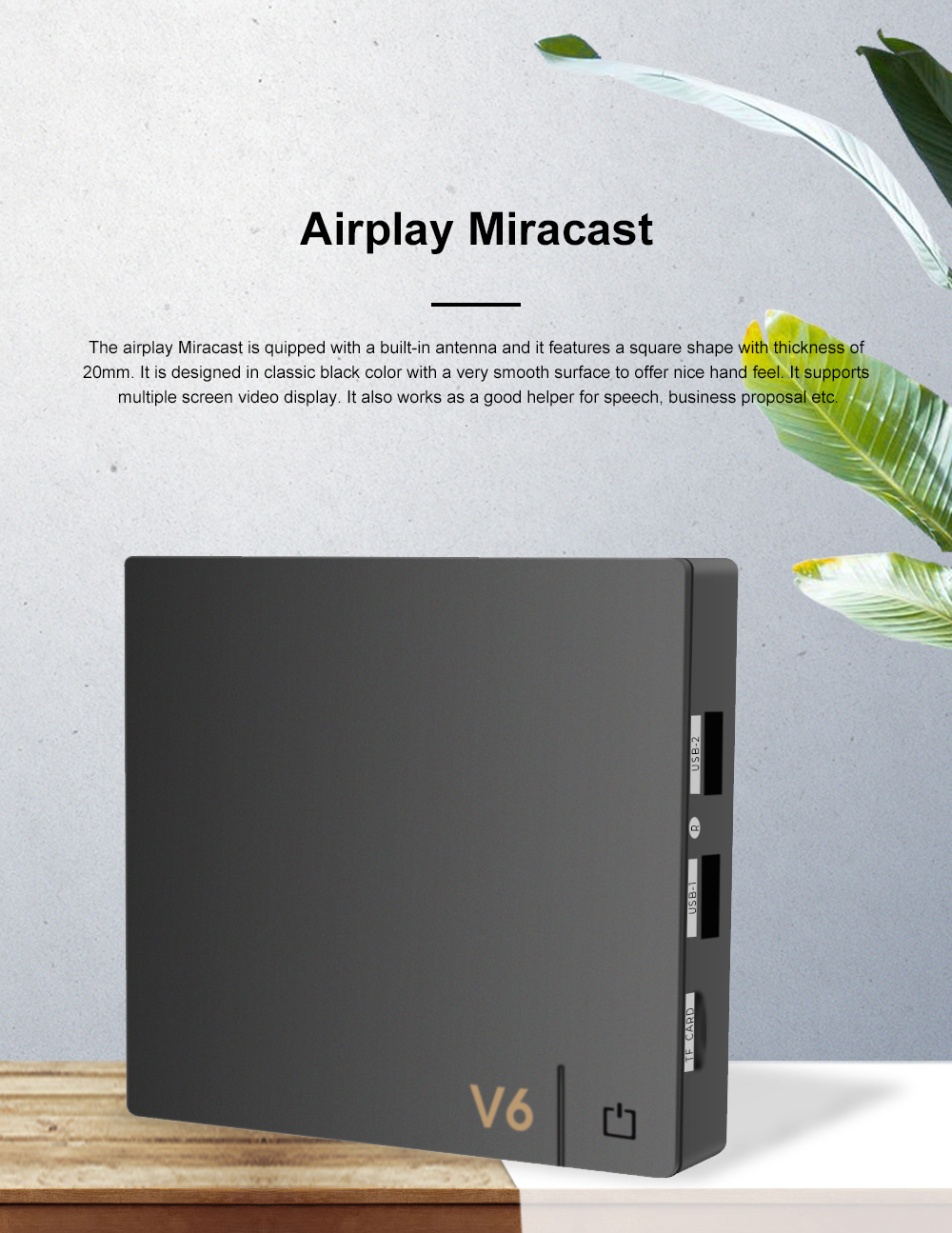 V6 4K Airplay Miracast HD Projection Converter for Indoor Mirroring Display Multifunctional Portable Screen Converter 0