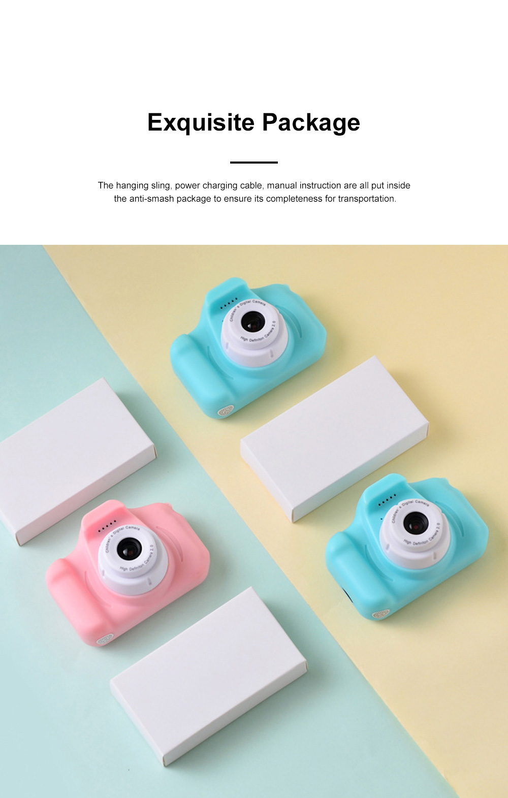 Mini Digital Camera for Children's Gift Environment-friendly ABS Funny Kids' Cams Durable Outdoor Video Camera Portable Cartoon Camera 8