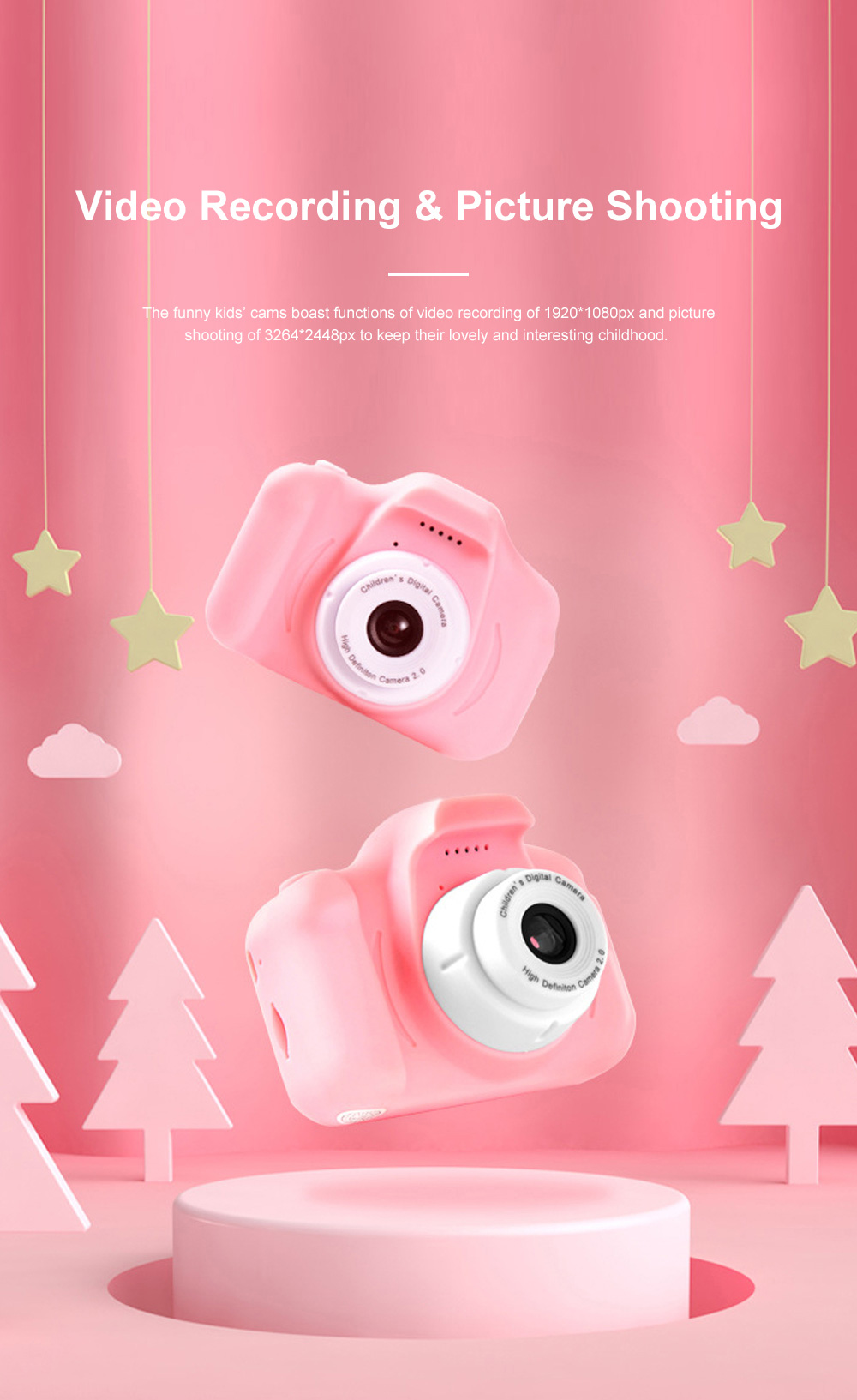 Mini Digital Camera for Children's Gift Environment-friendly ABS Funny Kids' Cams Durable Outdoor Video Camera Portable Cartoon Camera 1
