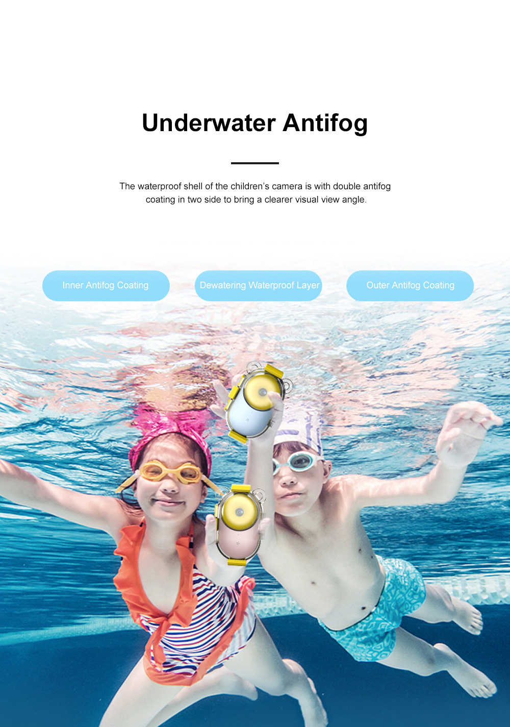 Waterproof Children's Camera for Outdoors Diving Skiing Twin Lens High-resolution Video Recorder Large Screen Display Intelligent Camcorder 3
