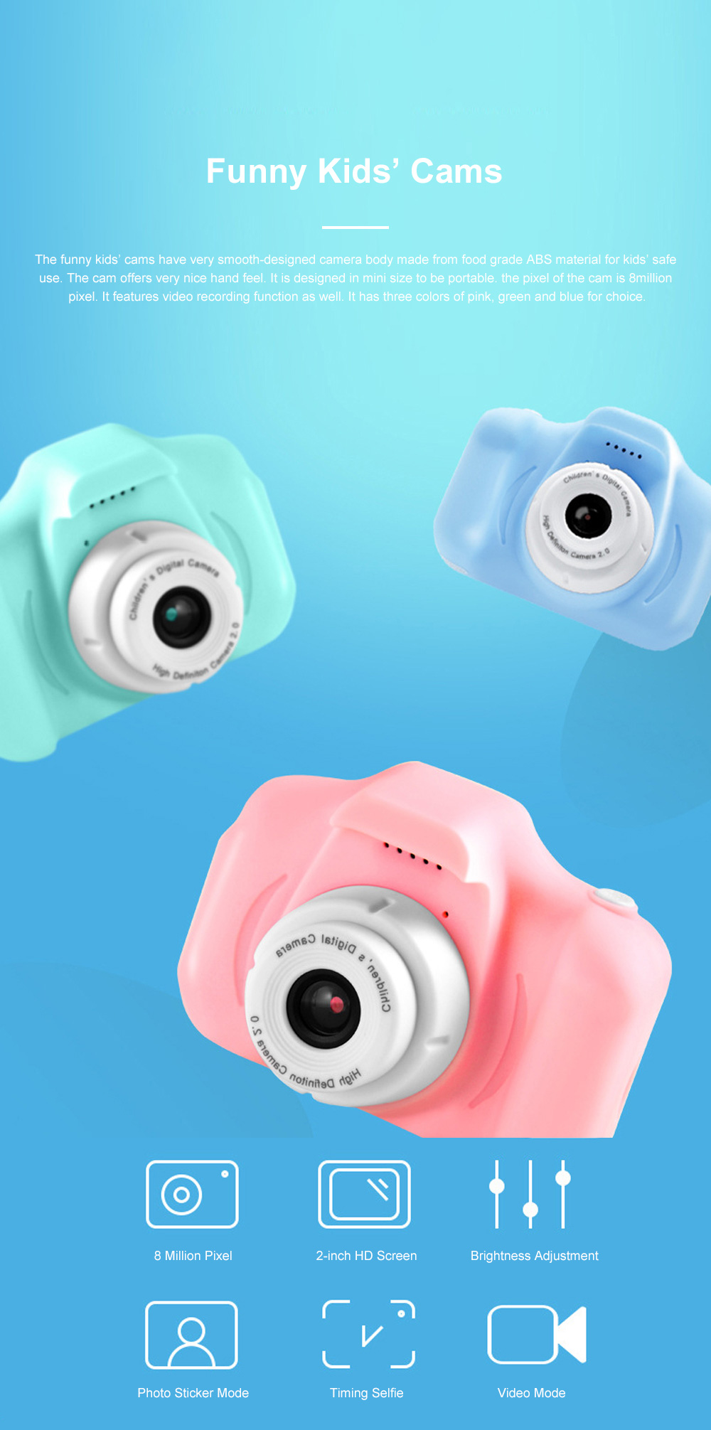 Mini Digital Camera for Children's Gift Environment-friendly ABS Funny Kids' Cams Durable Outdoor Video Camera Portable Cartoon Camera 0