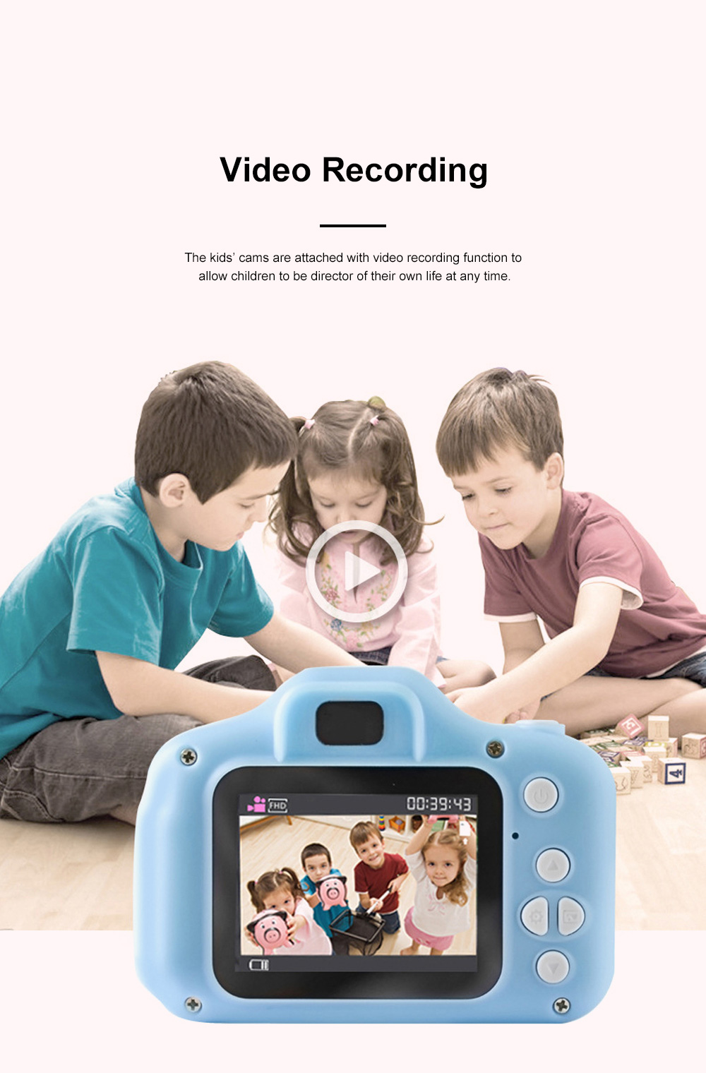 Mini Digital Camera for Children's Gift Environment-friendly ABS Funny Kids' Cams Durable Outdoor Video Camera Portable Cartoon Camera 5