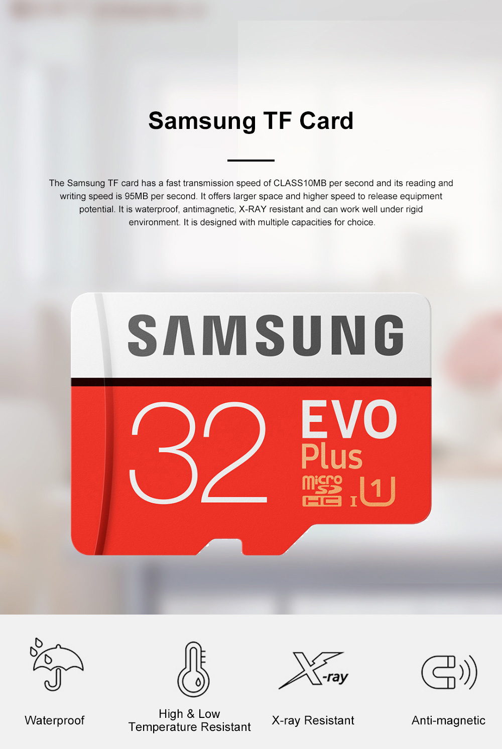 Samsung Class 10 Waterproof TF Card Antimagnetic Reliable Micro SD Card Compatible for Smart Phones Laptops Auto Mobile Data Recorder 0