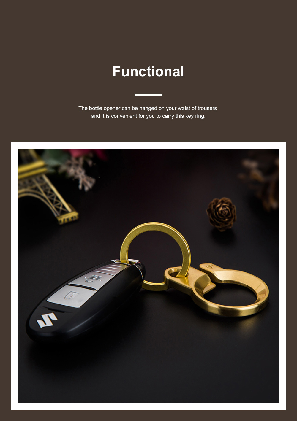 Creative Fancy Delicate Brass Copper Car Key Chain Ring Minimalist Atmosphere Convenient Functional Bottle Opener Waist Key Chain Creative Key Ring Opener 4