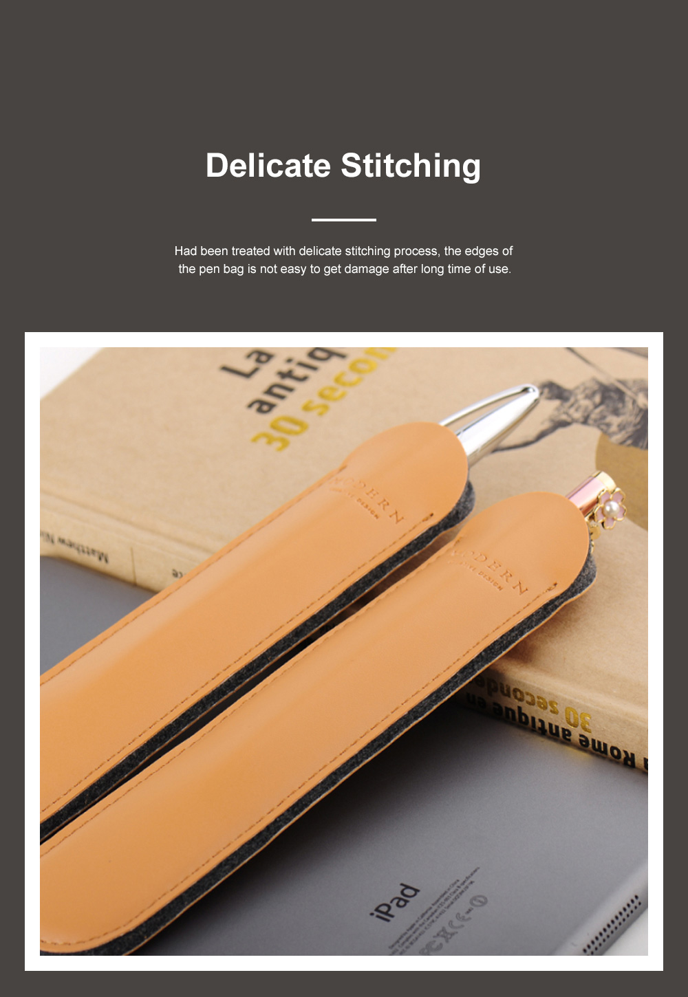 Minimalist Vintage Business Tough Soft Leather Pen Bag Pencil Case with Delicate Stitching Smooth Wool Felt Lining 2