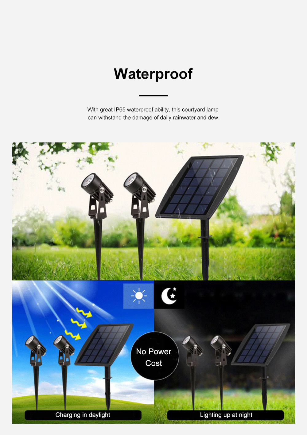 Waterproof Solar Energy Powered Courtyard LED Garden Lamp Large Power Lawn Spot Light Projector Lamp 4