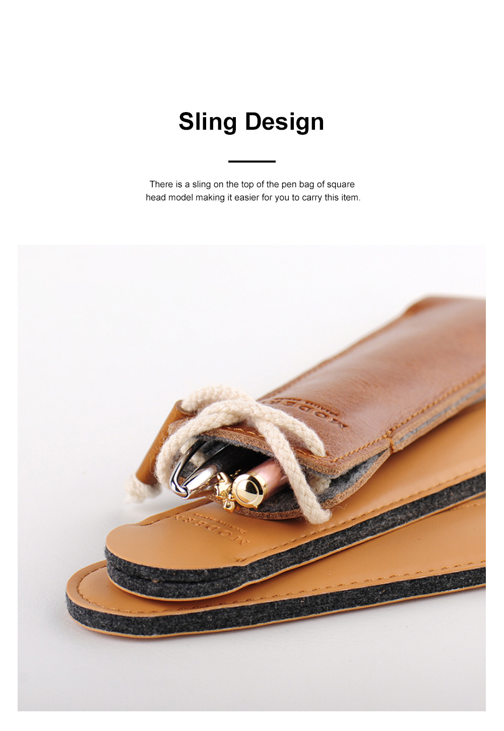 Minimalist Vintage Business Tough Soft Leather Pen Bag Pencil Case with Delicate Stitching Smooth Wool Felt Lining 3