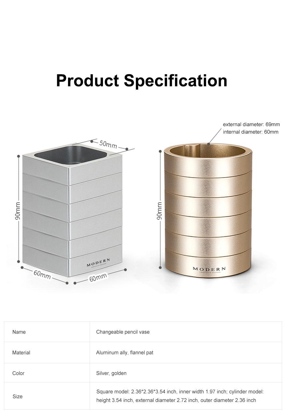 Creative Changeable Model Pencil Vase Brush Pot Office Desktop Ornament Aluminum Alloy Storage Box 6