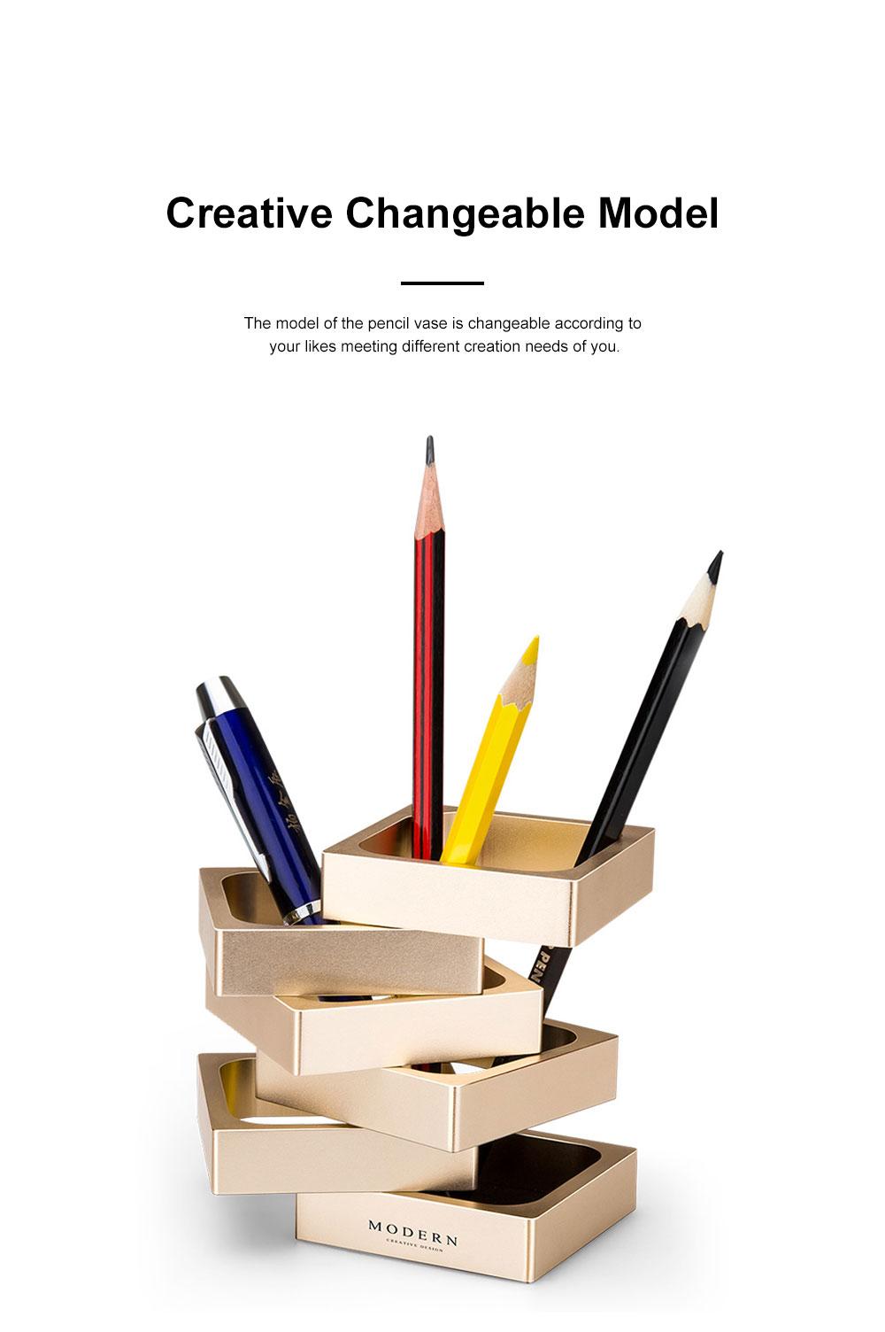 Creative Changeable Model Pencil Vase Brush Pot Office Desktop Ornament Aluminum Alloy Storage Box 3