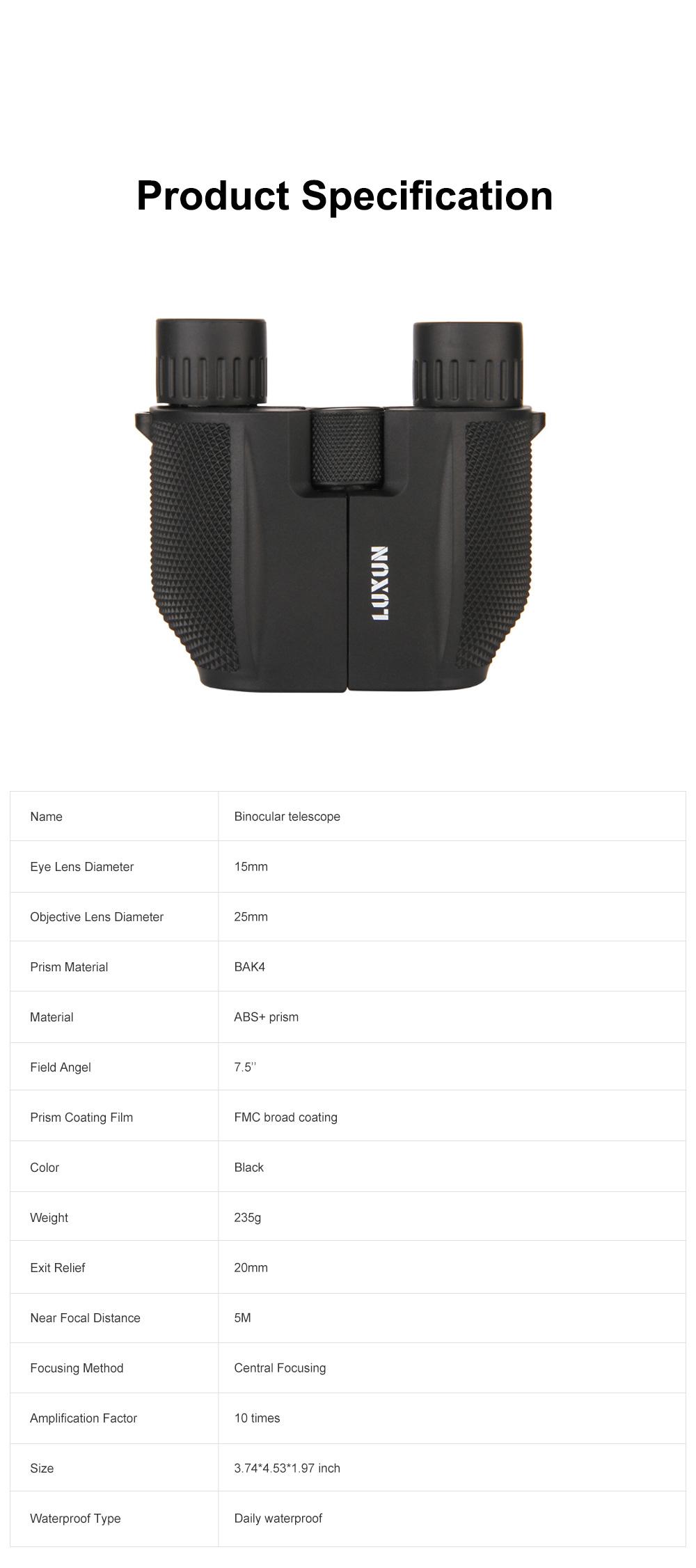 Portable Handy Waterproof High-powered High Definition Telescope Binoculars Pancratic Lens Adjustable Focus 6