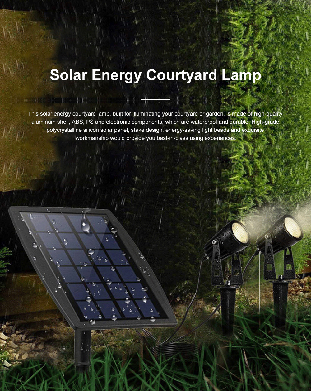 Waterproof Solar Energy Powered Courtyard LED Garden Lamp Large Power Lawn Spot Light Projector Lamp 0