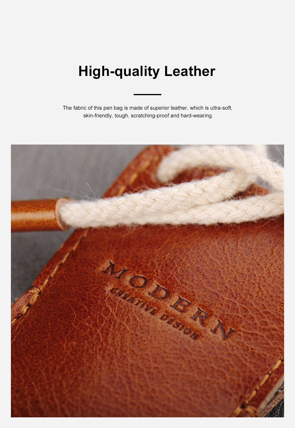 Minimalist Vintage Business Tough Soft Leather Pen Bag Pencil Case with Delicate Stitching Smooth Wool Felt Lining 5