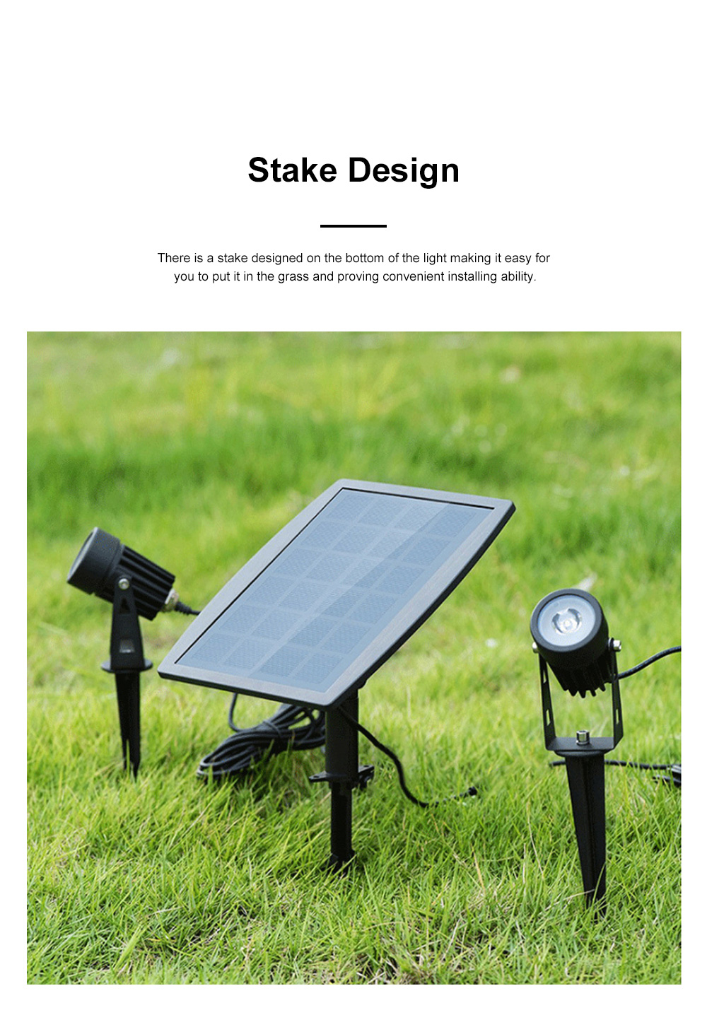 Waterproof Solar Energy Powered Courtyard LED Garden Lamp Large Power Lawn Spot Light Projector Lamp 5