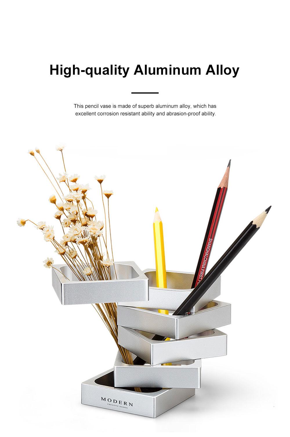 Creative Changeable Model Pencil Vase Brush Pot Office Desktop Ornament Aluminum Alloy Storage Box 1