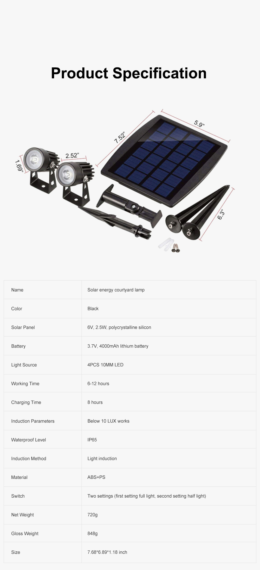Waterproof Solar Energy Powered Courtyard LED Garden Lamp Large Power Lawn Spot Light Projector Lamp 6
