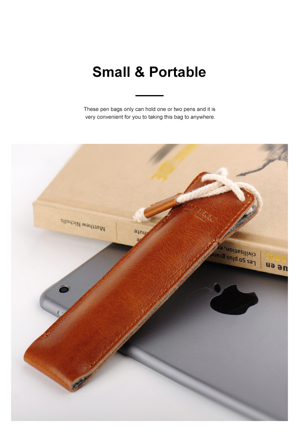 Minimalist Vintage Business Tough Soft Leather Pen Bag Pencil Case with Delicate Stitching Smooth Wool Felt Lining 1