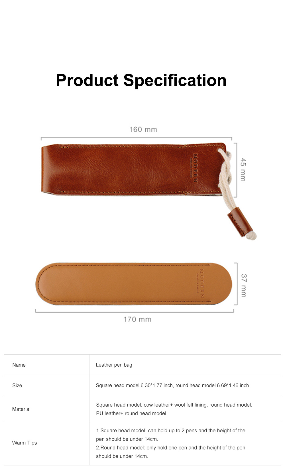 Minimalist Vintage Business Tough Soft Leather Pen Bag Pencil Case with Delicate Stitching Smooth Wool Felt Lining 6