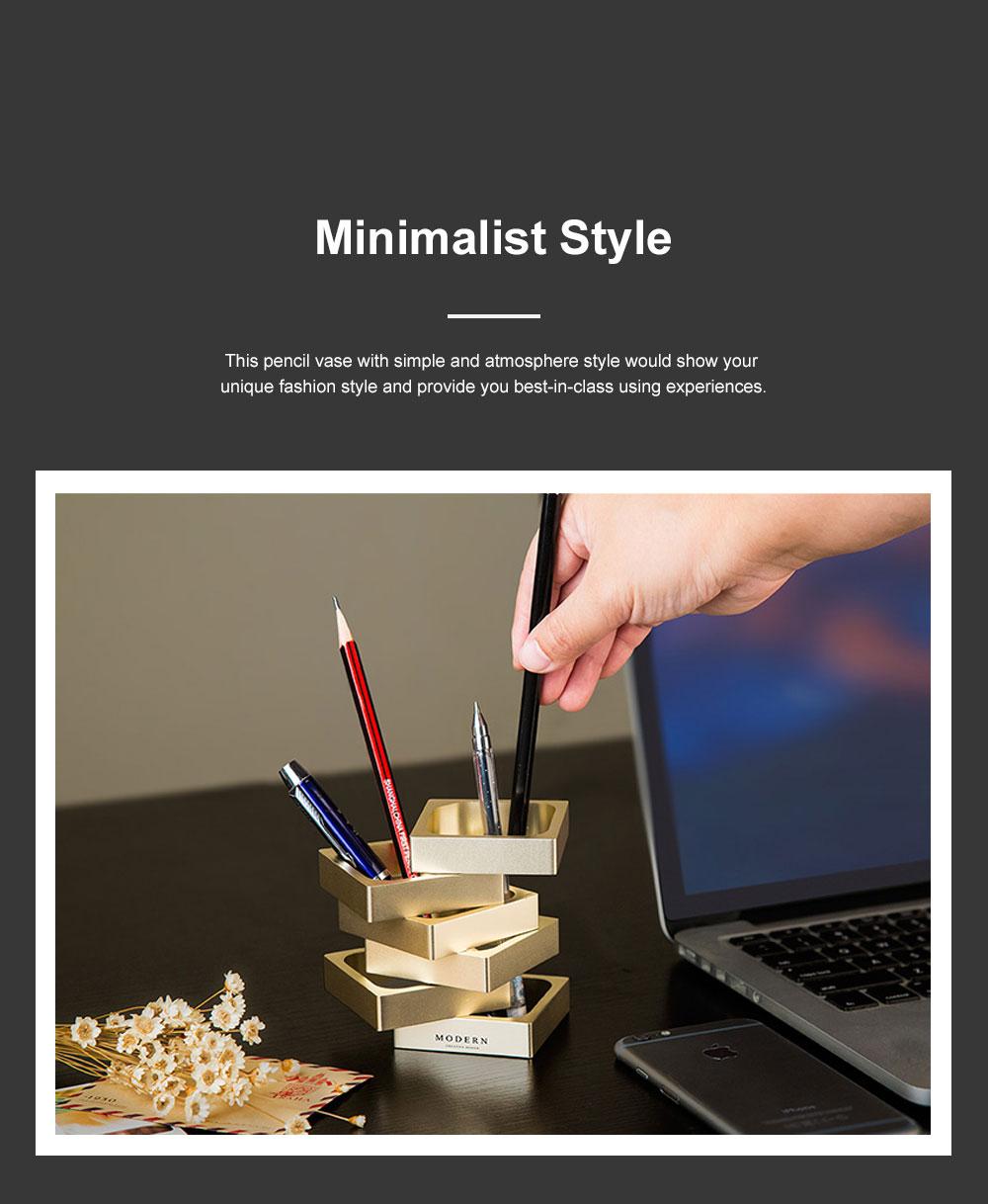 Creative Changeable Model Pencil Vase Brush Pot Office Desktop Ornament Aluminum Alloy Storage Box 4