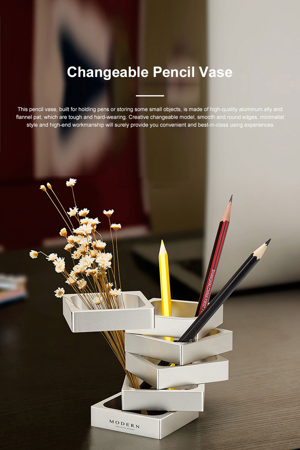 Creative Changeable Model Pencil Vase Brush Pot Office Desktop Ornament Aluminum Alloy Storage Box 0