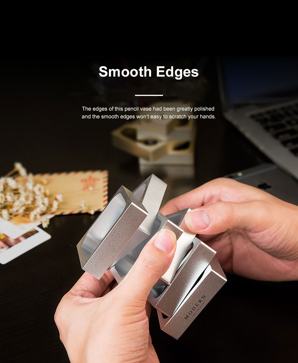 Creative Changeable Model Pencil Vase Brush Pot Office Desktop Ornament Aluminum Alloy Storage Box 2
