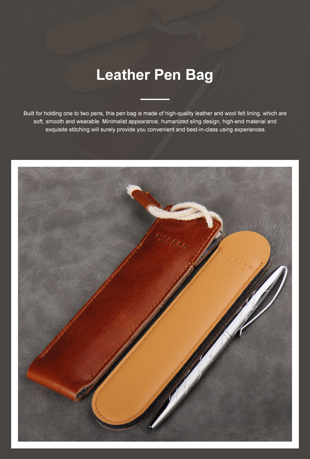 Minimalist Vintage Business Tough Soft Leather Pen Bag Pencil Case with Delicate Stitching Smooth Wool Felt Lining 0