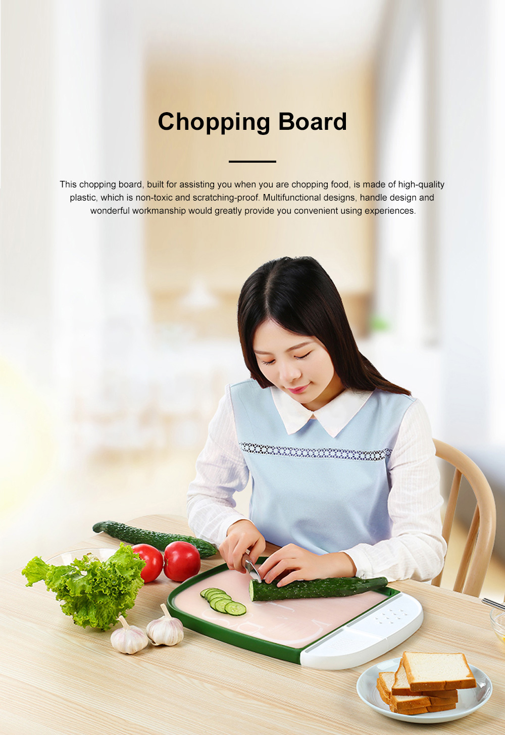 Multifunctional Double-sided Usable Chopping Board with Handle Detachable Two Storage Cases Ginger Knife Grinder Meat Punch 0